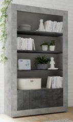 Pesaro Mobilia Open boekenkast Urbino 190 cm hoog in grijs beton met oxid