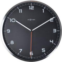 Zwarte NeXtime Company - Klok - Stil Uurwerk - Rond - Aluminium - Ø35 cm - Zwart