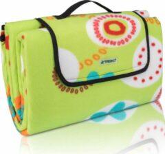 Sens Design Picknickdeken, groen, bloemmotief, picknickkleed, 200 x 200 m, waterdicht, campingdeken, outdoor plaid, stranddeken