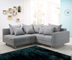 DELIFE Ecksofa Clovis Grau Flachgewebe Armlehne Ottomane Rechts, Design Ecksofas, Couch Loft, Modulsofa, modular