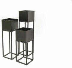 Zwarte Metalen Planten Standaard-15x60/50/40 cm-Housevitamin set van 3