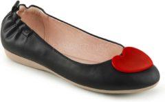 Olive-05 opvouwbare ballerina met elastieken hiel en rood hart detail zwart - Vintage Rockabilly - (EU 39 = US 9) - Pin Up Couture