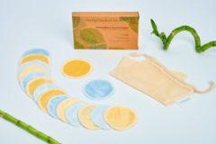 MyFoodways.nl 16x Blauwe (8) en Gele (8) Luxe Herbruikbare Wattenschijfjes – Bamboe - inclusief Waszakje | Plasticvrije Verpakking - Zero Waste | Wasbare Wattenschijfjes | Duurzame Wattenschijfjes | Make Up Pads