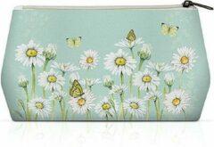 Ambiente, Cosmetic Bag Daisy groen - Toilet tas - Make-up tas