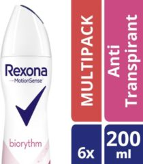 Rexona Ultra Dry Biorythm Women - 6 x 200 ml - Deodorant Spray - Voordeelverpakking