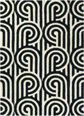 Florence Broadhurst - Turnabouts black 39205 Vloerkleed - 120x180 cm - Rechthoekig - Laagpolig Tapijt - Design, Klassiek - Zwart wit