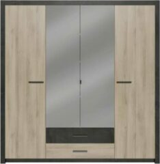 Bruine Andere COLORADO Garderobe 4 deuren - Kronberg Eikenhouten decor - B198 x H 203,1 x 56,6 cm