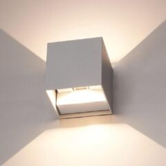 HOFTRONIC™ Dimbare LED Wandlamp Grijs - Kansas - 6 Watt - 3000K - Tweezijdig oplichtend - IP54 - Uitermate geschikt voor binnen en buiten