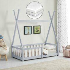 Licht-grijze En.casa Kinderbed Tipi met uitvalbeveiliging en matras 70x140 lichtgrijs