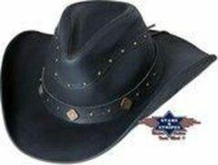 Zwarte Stars & Stripes Western lederen hoed Stars&Stripes DUNDEE XL
