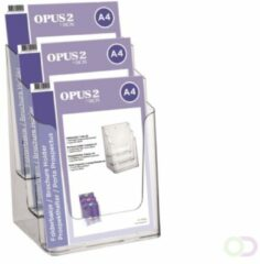 Transparante Opus2 Folderbakje OPUS 2 3xA4- Glasheldere presentatie van folders, catalogi en prijskaarten - Stevig en glashelder hoogwaardig kunststof - Formaat A4