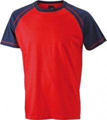 Rode James & Nicholson Heren t-shirt rood/navy 3XL