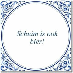 Witte De Tegeltjesfabriek Tegeltje met hangertje - Schuim is ook bier!