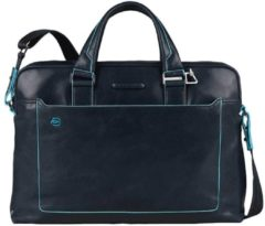 "Blauwe Piquadro Blue Square Double Handle Computer Portfolio Briefcase 14"" Night Blue"