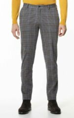 Donkerbruine Scotch & Soda Mott slim fit pantalon met ruitdessin