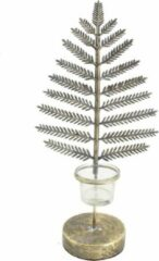Home Society - waxinelichthouder kerstboom - staal - goud - small