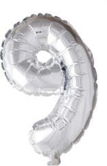 Folie ballon nummer '9' zilver 40cm