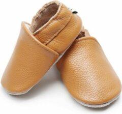 Supercute Leren baby sloffen - Caramel bruin - 0 - 6 maanden - Leer - Babyschoenen - Jongen - Kraamkado - Babyshower