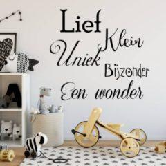 Licht-grijze Muursticker Lief, Klein, Uniek, Bijzonder, Een Wonder - Lichtgrijs - 80 x 76 cm - nederlandse teksten baby en kinderkamer - Muursticker4Sale