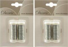 Decoris 4x Zilver ijzerdraad op rol 3000 cm - Hobby ijzerdraad zilver