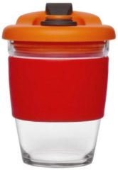 Rode Herbruikbare Koffiebeker - 340ml - Vulcano Red - Glas - Pioneer