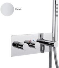Inbouw Douchekraan Sanimex Giulini Thermostatisch 1-Uitgang Rechthoekig Incl. Handdouche En BOX Inbouwdeel Mat Wit