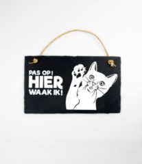 Zwarte Paper dreams Wandbord van Leisteen - met Spreuk: - Poes/Kat - Pas op! HIER waak ik! - Tekstbord