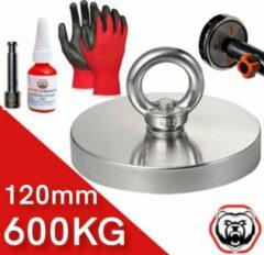 Brute Strength Vismagneet - 600 kg trekkracht - Magneetvissen - Incl. Handschoenen - Prikstok adapter - Schroefdraadborgmiddel (10 ml) - Magneet vissen magneet - Starterspakket