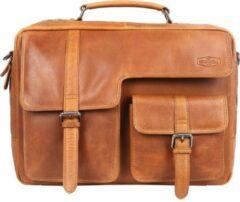 Sparwell Tas - Kompatible Karraro - Aktetas - Laptop tas 15.6 Inch - 100% Leer - Schoudertas - Cognac / Bruin (Dames Tas / Heren Tas)