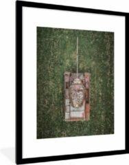 PosterMonkey Foto in lijst - Drone shot van een verlaten tank fotolijst zwart met witte passe partout 60x80 60x80 cm - Poster in lijst (Wanddecoratie woonkamer / slaapkamer)