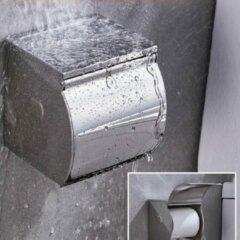 Roestvrijstalen Decopatent® Toiletrolhouder Rvs - Toiletrolhouder met telefoonhouder / plankje - Toilet / WC papier rolhouder met klep - wandmodel