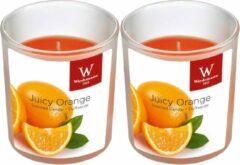 Oranje Trend Candles 2x Geurkaarsen sinaasappel in glazen houder 25 branduren - Geurkaarsen sinaasappel geur - Woondecoraties