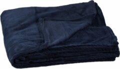 Marineblauwe Relaxdays - fleece deken - plaid - kleed - polyester - verschillende kleuren