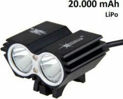 SolarStorm X2 MTB/race LED koplamp 2x CREE T6 LED klein maar EXTREEM veel licht - USB aansluiting - met 20.000mAh LiPo powerbank - Zwart