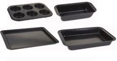 Zwarte Curver Set van 4 Bakvormen - Maximale Afmeting 38 x 27 x 8 cm - Cakevorm, muffin of cupecake, pizza of taart