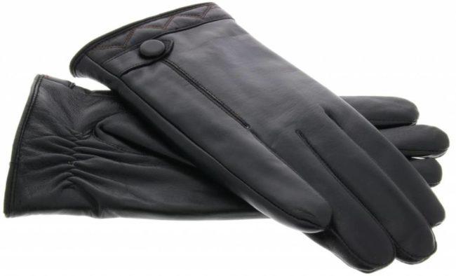 Afbeelding van Zwarte IMoshion Echt lederen touchscreen handschoenen met knoop - Maat XL