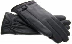 Zwarte IMoshion Echt lederen touchscreen handschoenen met knoop - Maat XL