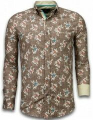 Tony Backer Italiaanse Overhemden - Slim Fit Overhemd - Blouse Woven Flowers Pattern - Bruin Casual overhemden heren Heren Overhemd Maat 3XL