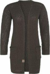 Knit Factory Luna Gebreid Dames Vest - Taupe - 36/38 - Met steekzakken