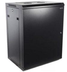 """Zwarte Alfaco 19-6415M, 15U, 19"""" Serverkast/Patchkast met metalen voordeur, (BxDxH) 600x450x769mm"""