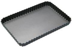 Roestvrijstalen KitchenCraft Geribbelde rechthoekige bakvorm met losse bodem, 30cm x 20cm - Masterclass