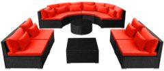 VidaXL 11-delige Loungeset met kussens poly rattan rood