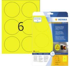 Signaleringsplaatjes Herma 8035 slijtvast A4 Ø 85 mm rond geel sterk hechtend folie mat weerbestendig 150 st.