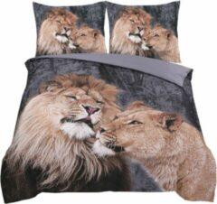 Cotton Club Dekbedovertrek Lion Love Antaciet|Taupe- Tweepersoons -200x200/220cm + 2 kussenslopen 60x70cm
