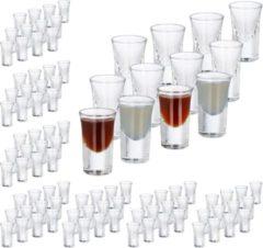 Transparante Relaxdays 96x shotglazen - borrelglaasjes - 4 cl - glas - likeur - feest - set