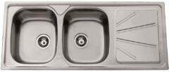 Nemo Go Legato inbouwspoeltafel 1200x500 mm 2 bakken incl afvoerplug en overloopset inclusief plaatsbesparende sifon 64x40 mm inclusief InoxClean hoogwaardig roestvrij staal met waterkeringsrand omkeerbaar