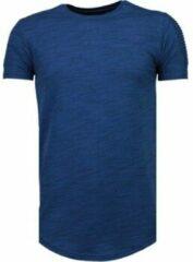 Blauwe T-shirt Korte Mouw Tony Backer Sleeve Ribbel - T-Shirt - Navy
