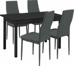 En.casa Eethoek eetkamerset Graz 5-delig tafel met stoelen donkergrijs
