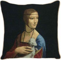 Rode Signare Kunst kussenhoes - Leonardo Da Vinci - De dame met de hermelijn - 45 cm