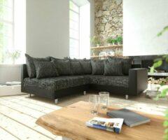 DELIFE Hoekbank zwart Clovis met armleuning ottomane rechts hoekbank module bank